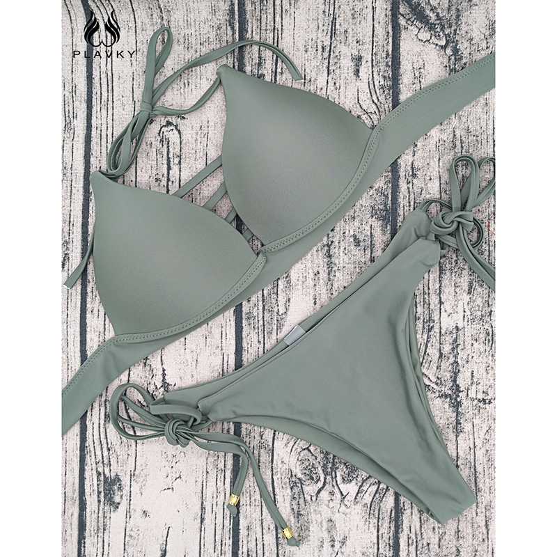 PLAVKY Sexy Push Up Bikini Set Halter Swimwear Women Brazilian Biquini String Bandage Swimsuit Solid Swim Bathing Suit Beachwear 1
