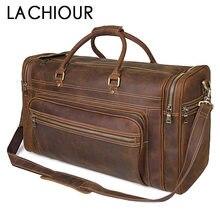 Brown Men Crazy Horse Leather Travel Handbags Large Genuine Leather Business Shoulder Bags Men's Handbag Totes Leather Bag недорого