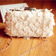 2017 Handmade Petals Ladies  Clutch Handbag Women Evening Bags Bridal Wedding Day Clutche Purse bolsas mujer with Chain
