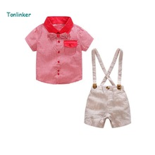 Tonlinker Summer Baby cotton Suit Shorts Shirt Toddler Boys Clothing Set Children Kid Clothes Suits Formal Wedding Party Costume toddler boys clothing set summer baby suit pants shirt 2 6 year children kid clothes suits formal wedding party costume