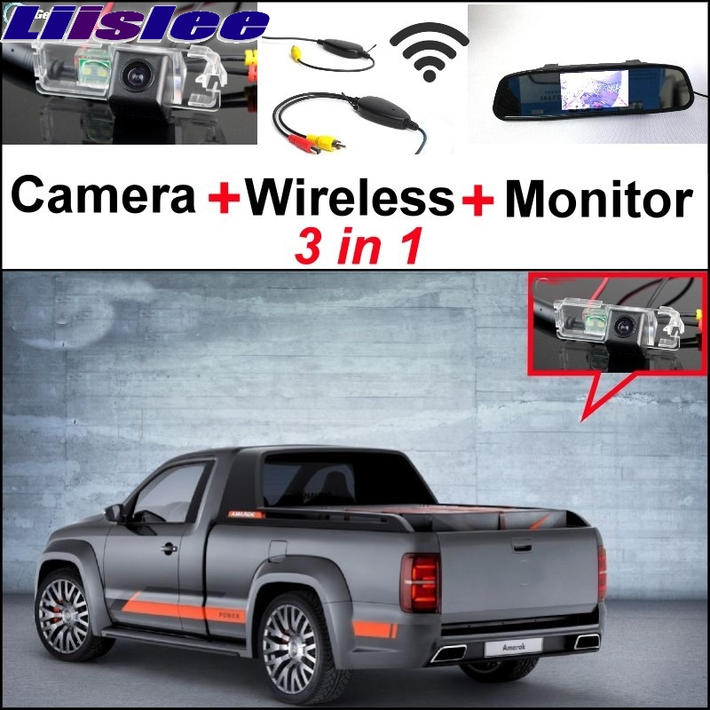 Liislee 3 in1 Special Rear View Camera + Wireless Receiver + Mirror Monitor Back Parking System For Volkswagen VW Amarok Robust wireless pager system 433 92mhz wireless restaurant table buzzer with monitor and watch receiver 3 display 42 call button