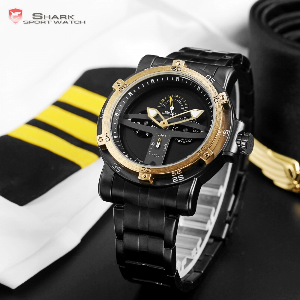 Greenland Shark Sport Watch Men Luxury Brand Golden Bezel Date Army Military Watches Clock Steel Quartz Relogio Masculino /SH427
