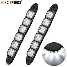1 çift Sis Işıkları LED Şerit 12 v COB Oto DRL LED Işık Bar Esnek Araç Gündüz Koşu Işık 12 v Su Geçirmez Araba Stil 6000 k