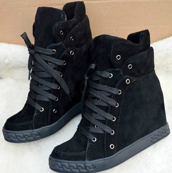 Stylish Fashion Leather Leisure Shoes 8cm Height Increasing Lady Ankle Boots Leather Lace-up High-top Women Casual Shoes new arrival women high top lace up denim casual shoes handmade sewing big rhinestone canvas ankle boots height increasing shoes