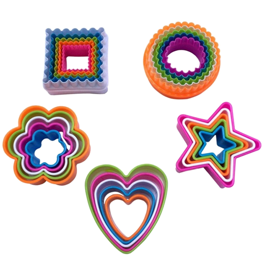 5Pcs/set Cake Decorations Baking Tools Heart Star Cookies Cutter Molds Plastic Cake Mould Biscuit Plunger Forms For DIY Cookies