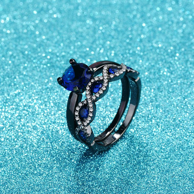 ERLUER Vintage Fashion Black gold Color blue CZ Crystal Engagement Rings For Women men Jewelry Wedding Trendy Gift Love Ring Set