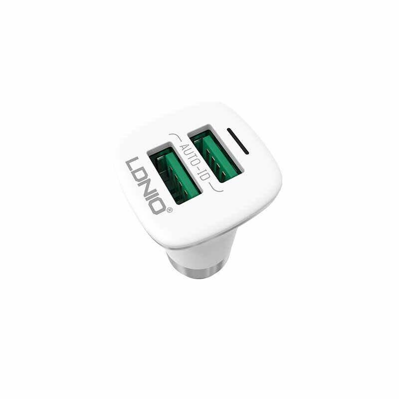 LDNIO معدن عالمي 5 فولت 3.6A تيار مستمر 12 فولت 24 فولت 2 USB التكيف السريع شاحن سيارة مع المصغّر USB كابل شحن ل هاتف ذكي أندرويد