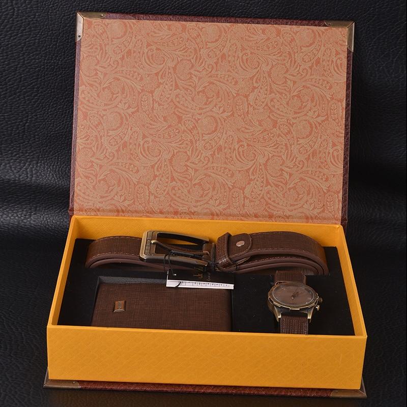 b908d668eef7d Man Watch Prezent Zestaw Z Pudełko Zegarek Skórzany Pasek Mężczyźni Portfele  męskie Zegarki Top Marka Luksusowe Wrist Watch Quartz Z Portfela Zestaw w  Man ...