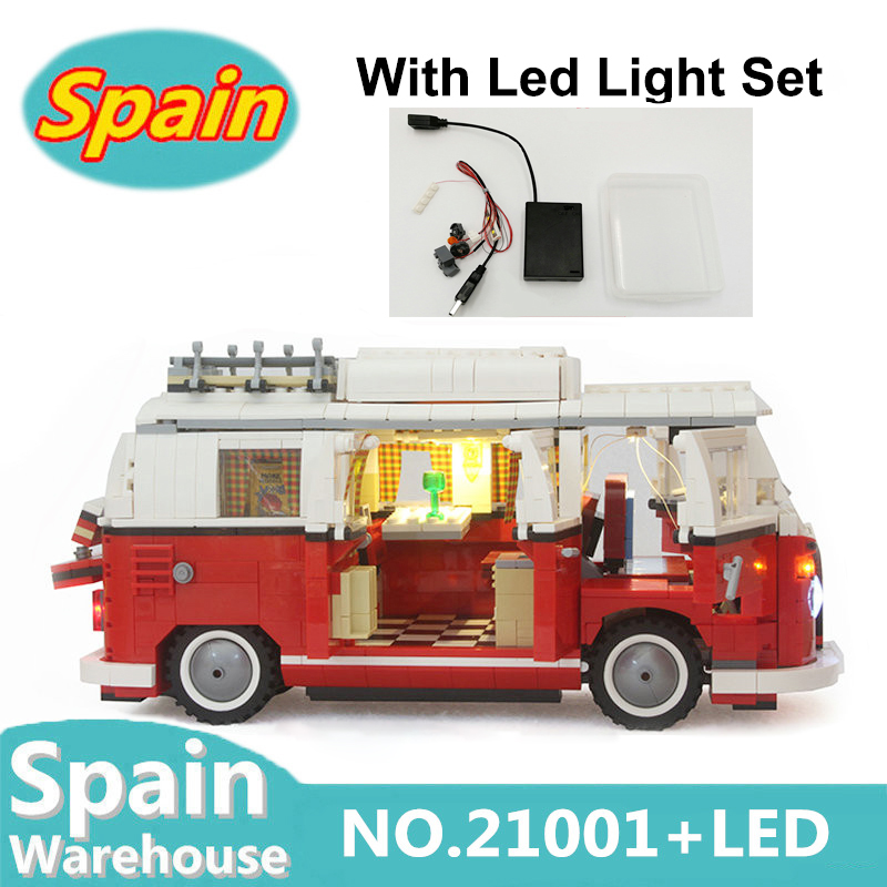 21001 Creator Car Camper Bus 1354pcs With Led Light Set Building Blocks Toys Children Gift Technic