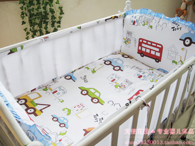 Promotion! 5PCS Mesh cot bedding set,infant nursery set,baby bedding set baby bumper Cot Set,include(4bumpers+sheet)