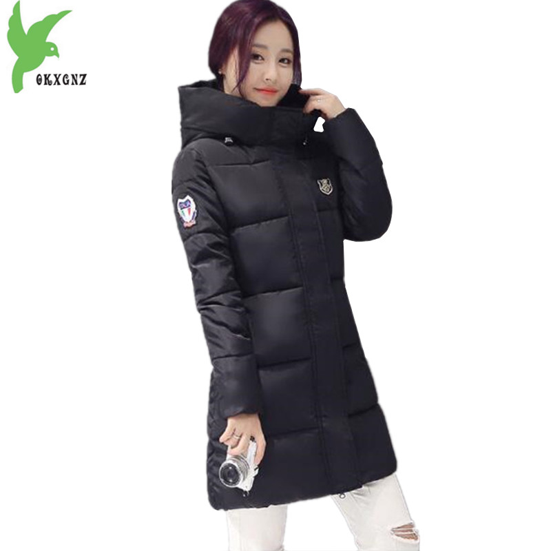 New Women Winter Down Cotton Jacket Fashion Hot Sell Hooded Medium Length Casual Warm Plus Size Solid Color Slim Coat OKXGNZ 937 rukka перчатки
