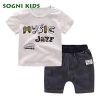 SOGNI KIDS Kids Clothes Boys 2017 Summer Brand Casual Boys Short Sleeves Printing T Shirt Shorts