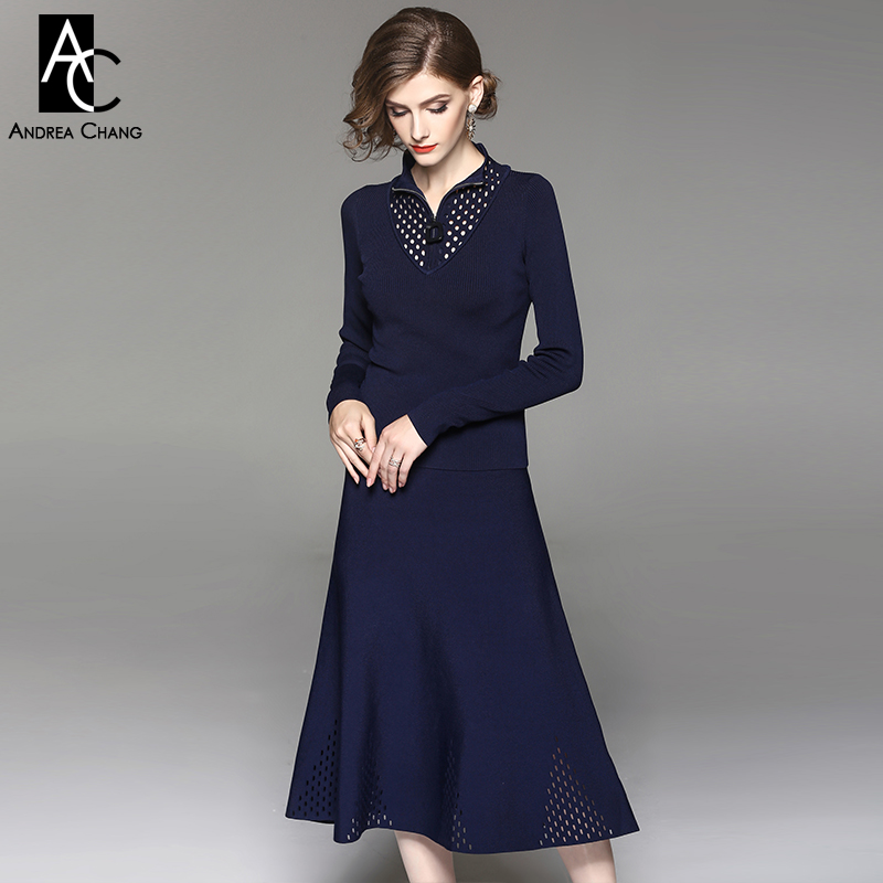 autumn winter woman outfit hollow out collar zipper dark blue black knitted outfit sweater calf length skirt casual outfit suit readit knitting dress 2017 winter woman dress dark blue wine red knitted dress calf length hollow out bottom casual dress d2558