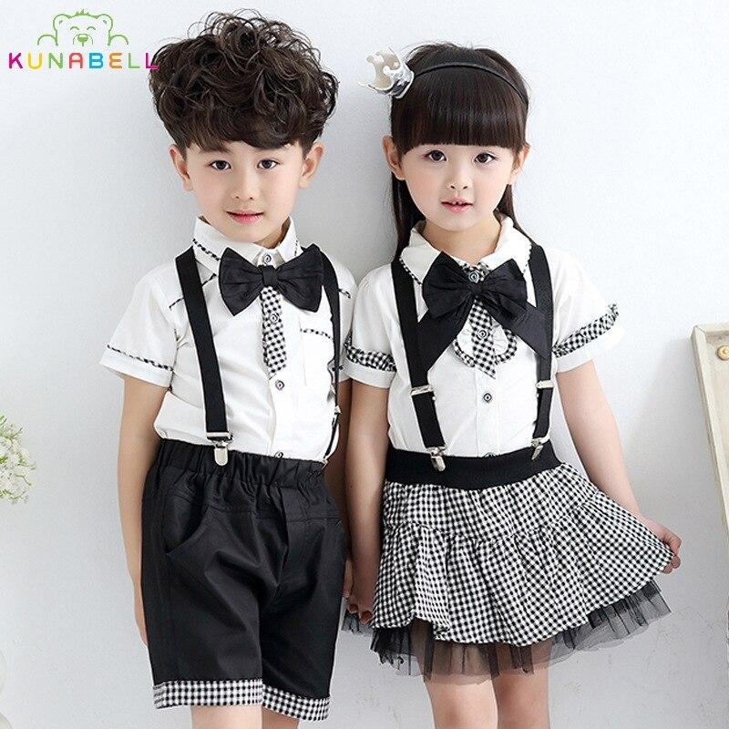 Children Formal Class Suit Girls Boys School Uniforms Sets Bow Tie T-shirt +Half Strap Pant Tutu Skirt Boy Performing Suit L209