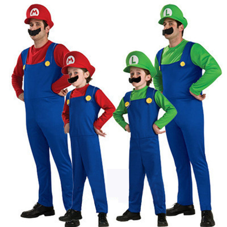 Halloween Costumes Funny Super Mario Luigi Brother Costume Kids Children Boys Girls Fantasia Cosplay Jumpsuit for Adults