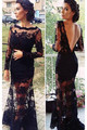 Gorgeous Slit High Long Evening Dresses Black Lace  Full Sleeves  Wedding  Party Prom Gowns See-Through 2016 Custom Made