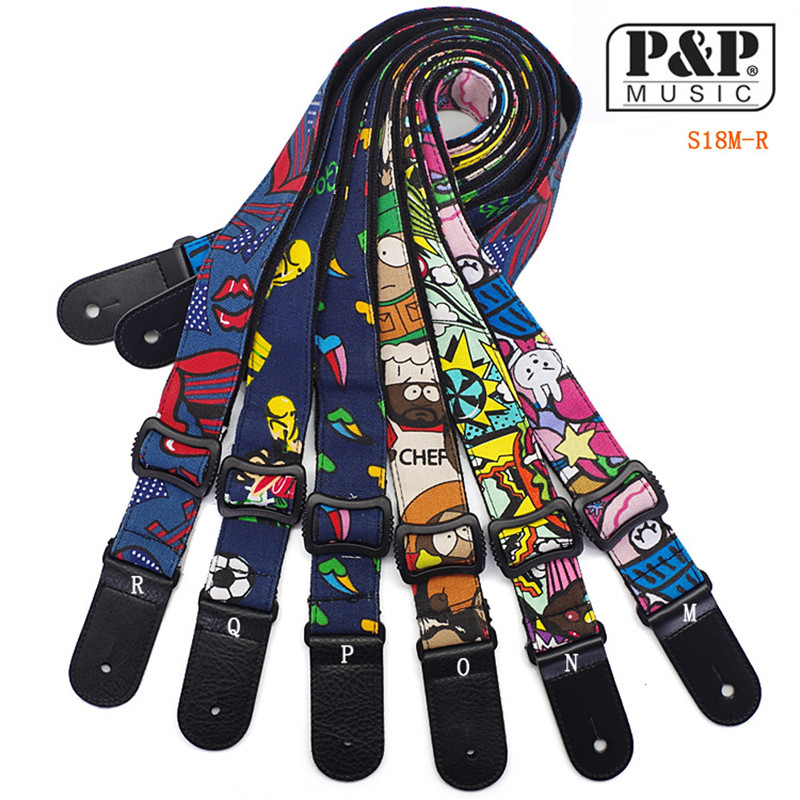 P&P Guitar Strap Printing Small  Cartoon Ukulele Strap  Ukulele More Color Strap S18 R-W  Wholesale ibanez gst62 bk guitar strap