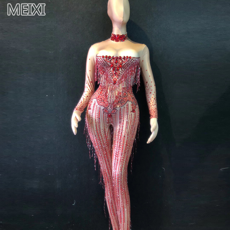 Slim And Shiny Red Crystal Tassel Rhinestone One-piece Dress Bar Birthday Party Concert Singer Dancer Costumes