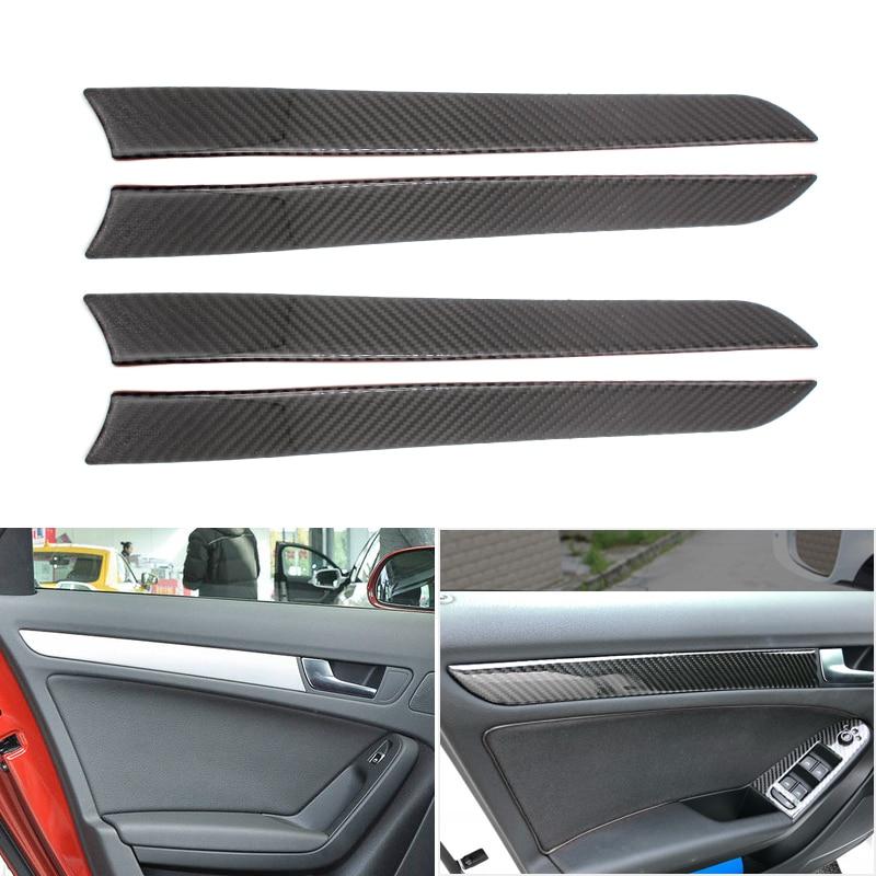 4pcs Real Carbon Fiber Interior Window Door Panel Trim Cover Inner Sticker Strip for Audi A4