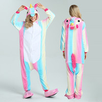 Pink Unicorn Pajamas Sets Flannel Cute Cartoon Animal Pajamas Sets Winter Super Soft Flannel Stitch Pyjamas