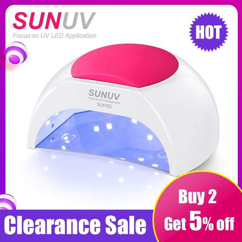 SUNUV SUN2C 48 W Nail Lampe lampe uv SUN2 séchoir d'ongles pour UVLED Gel séchoir d'ongles capteur à infrarouge avec Rose pad de silicone Utilisation de Salon