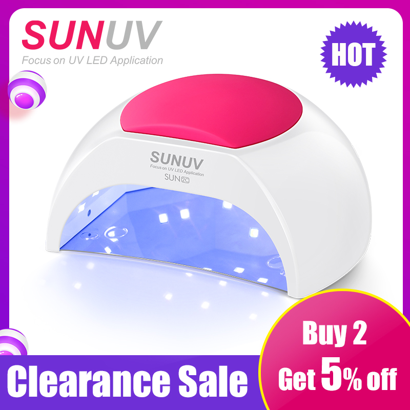 SUNUV SUN2C 48 W lámpara de uñas UV lámpara SUN2 secador de uñas para UVLED Gel de uñas secador de Sensor de infrarrojos con Rose almohadilla de silicona de salón