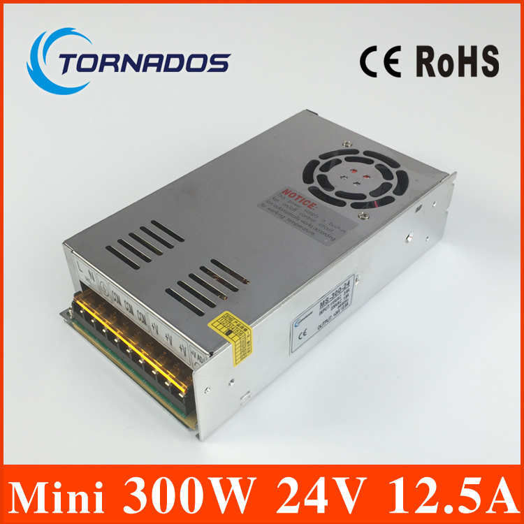 300W 24V 12.5A Single Output Switching power supply for LED Strip light AC to DC 24V SMPS for LED Strip Lighting MS-300-24 400w 24v 16 7a single output adjustable ac 110v 220v to dc 24v switching power supply unit for led strip light