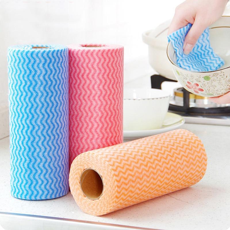 50 Stucke Roll Bambus Fibernon Woven Kuche Reinigung Tuch Einweg