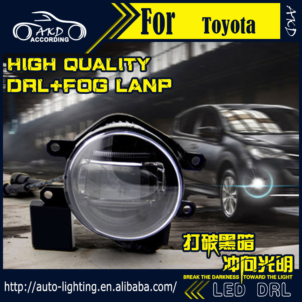 AKD Car Styling Fog Light for Toyota Highlander DRL LED Fog Light Headlight 90mm high power super bright lighting accessories akd car styling fog light for toyota yaris drl led fog light headlight 90mm high power super bright lighting accessories