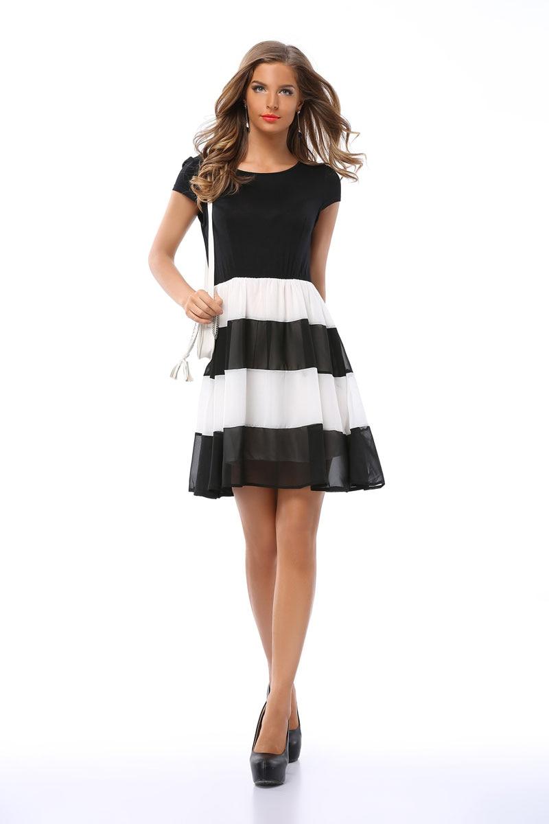 Black dress office - Summer Dress Women 2017 Straped Casual Short Patchwork A Line Streak Black White Dress Office
