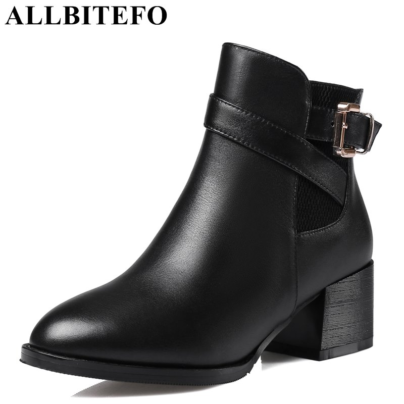 ALLBITEFO thick heel genuine leather metal buckle women boots brand medium heel martin boots ankle boots for woman size:33-43 цены онлайн