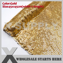 Gold Aluminum Metal Fabric Mesh Without Iron On Glue For Bag,Shoe,Jeans,Decoration,Wedding,Clothing(China)