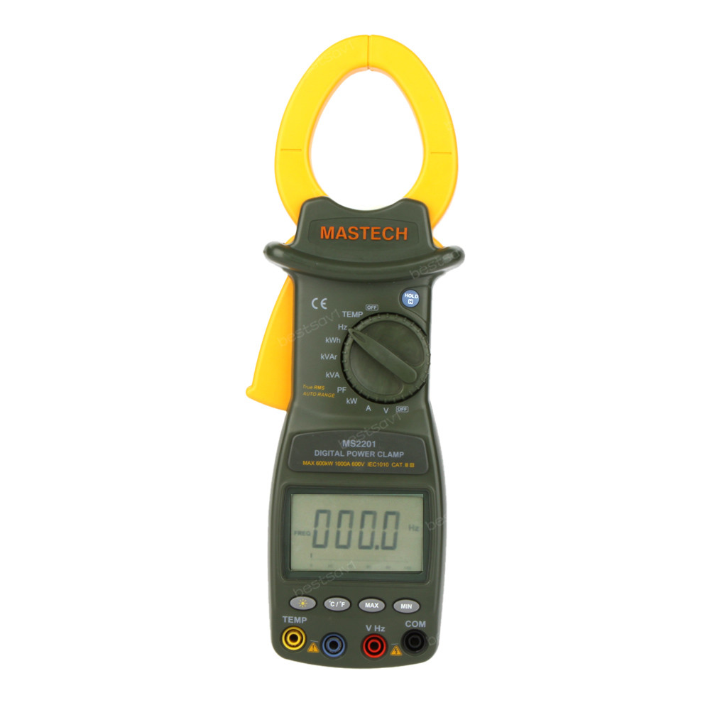 Mastech MS2201 True Rms Auto Range Digital Power Clamp Meter Wattmeter Factor Ammeter Voltmeter and ACTIVE ENERGY Tester MS2201
