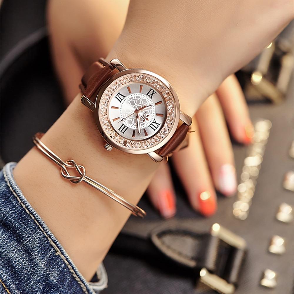 Luxury Brand Women's Watches Sport Watch Ladies Fashion Quartz Watch Women Rhinestone Leather Casual Dress Wristwatches Zegarki