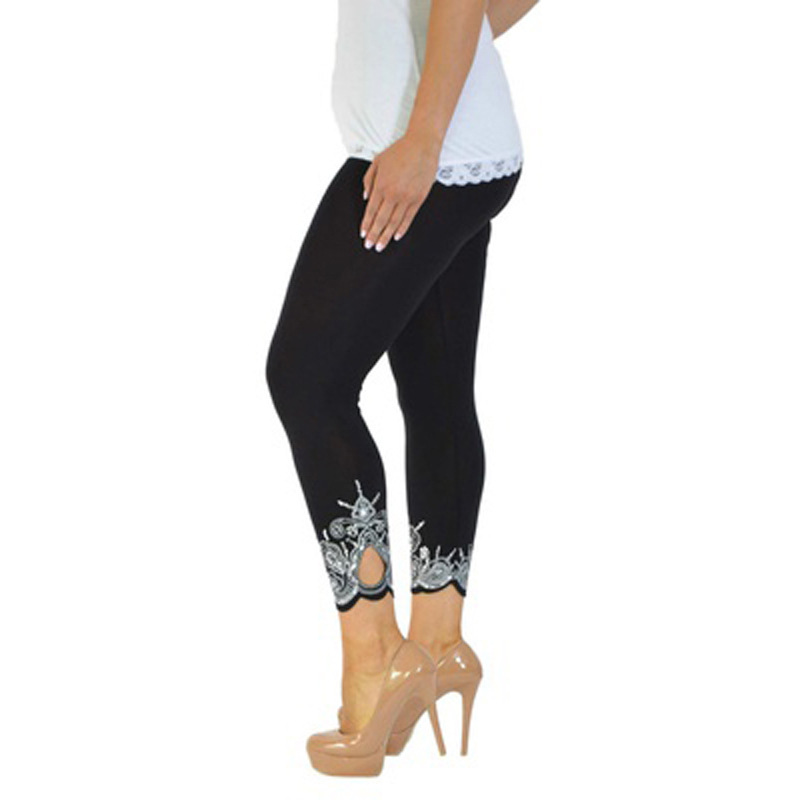 4XL 5XL Plus Size   Leggings   2018 Woman Cotton Pants Lace Patchwork Hole Slim Trousers Print Women Clothing White Pencil   Leggings