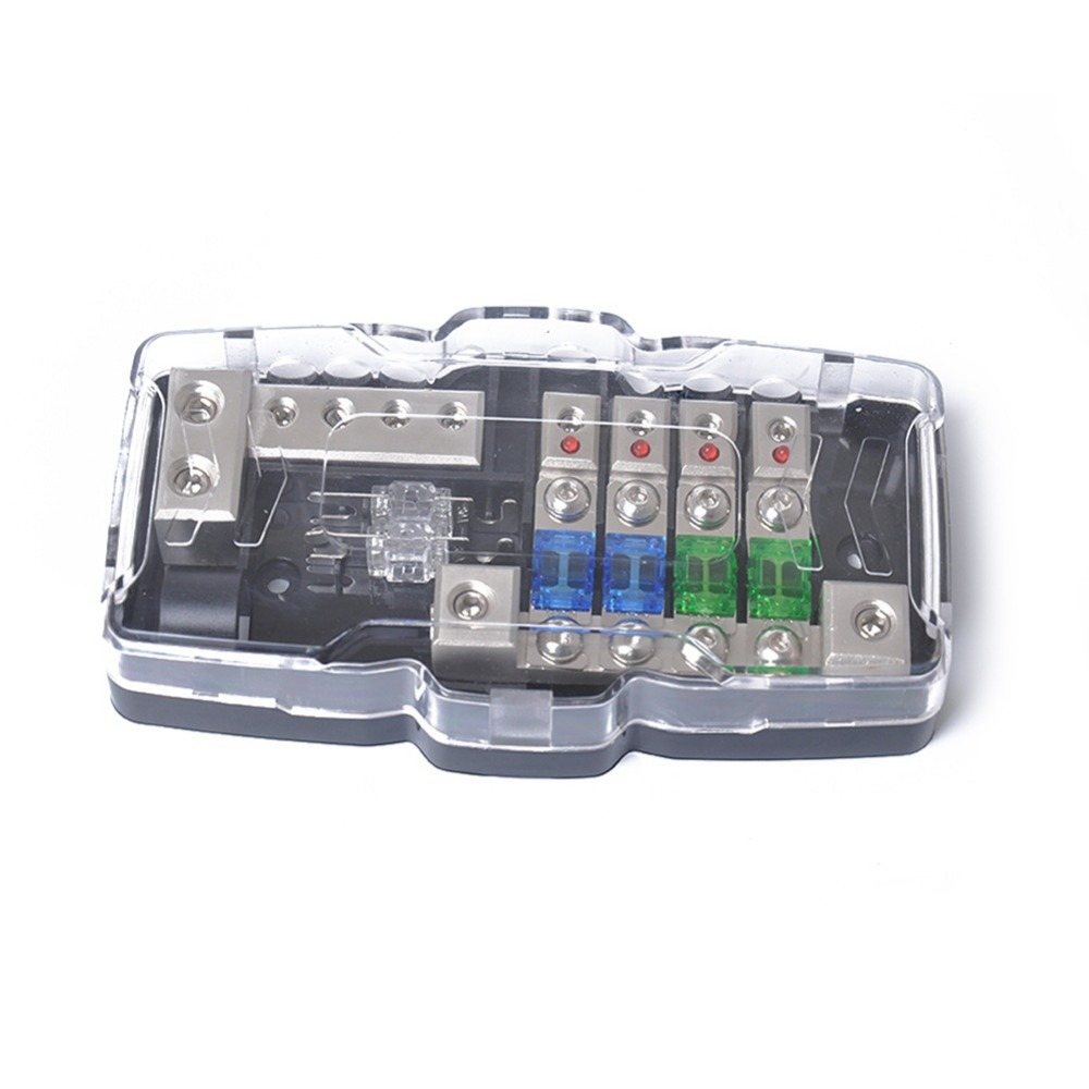 small resolution of multi functional led car audio stereo mini fuse box with 4 way fuse block 30a 60a 80amp and battery distribution 0 4ga in fuses from automobiles