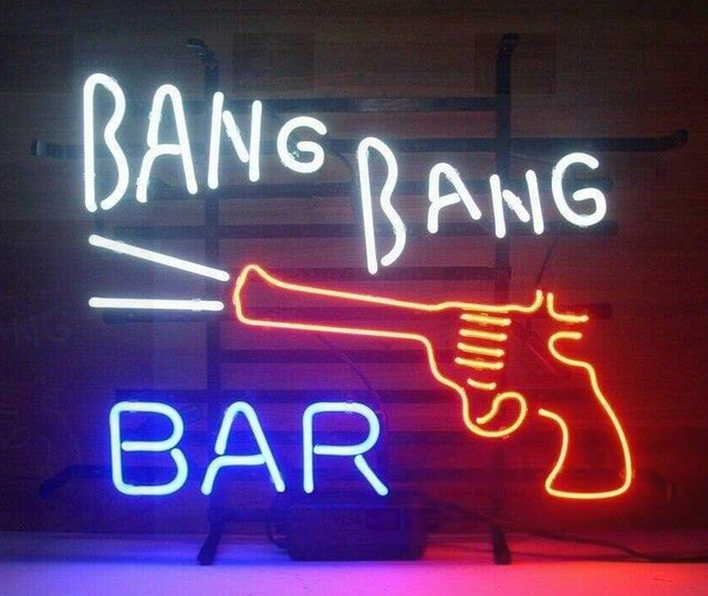 Custom Bang Bang Bar Glass Neon Light Sign Beer Bar