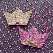 Lovely Baby Mini Zero Purse Handbag Glitter Crown Crossbody Bags for Kid Girls Bowknot Messenger Bag Accessories baobao Bags(China)