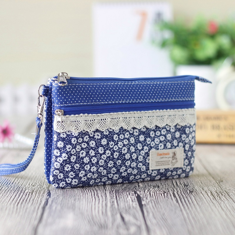 Cotton floral chrysanthemum fresh women long change wallet ladies coin purse bags female phone pouch carteira feminina for girls