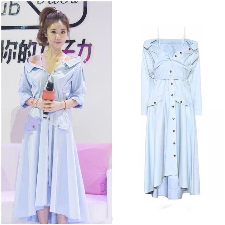 2018 New Arrival Spring dress  Asymmetrical Slash Neck Spaghetti Strap Dress Women  T1803086