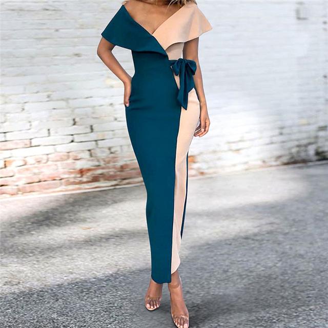 Elegant New 2019 Summer Dress Casual Ruffle Patchwork Office Lady Pencil Dress Plus Size Bodycon Bandage Dress Women Clothing