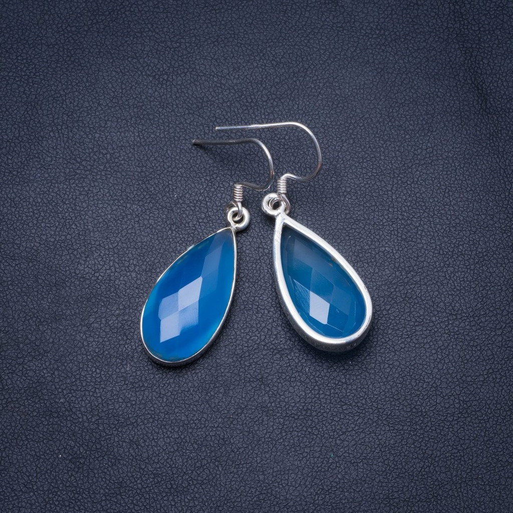 Natural Chalcedony Handmade Unique 925 Sterling Silver Earrings 1.5 Y0204Natural Chalcedony Handmade Unique 925 Sterling Silver Earrings 1.5 Y0204