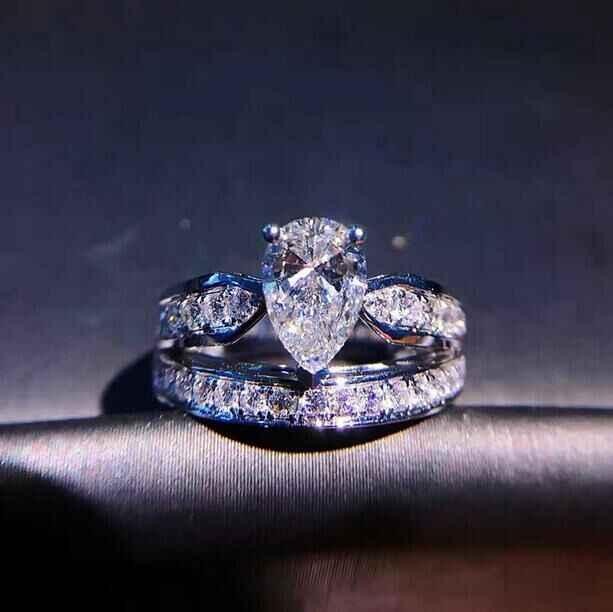 น่ารักแฟชั่นคริสตัล Zircon แหวนหญิงหญิง 925 เงินเครื่องประดับแหวนหมั้นสำหรับสุภาพสตรี