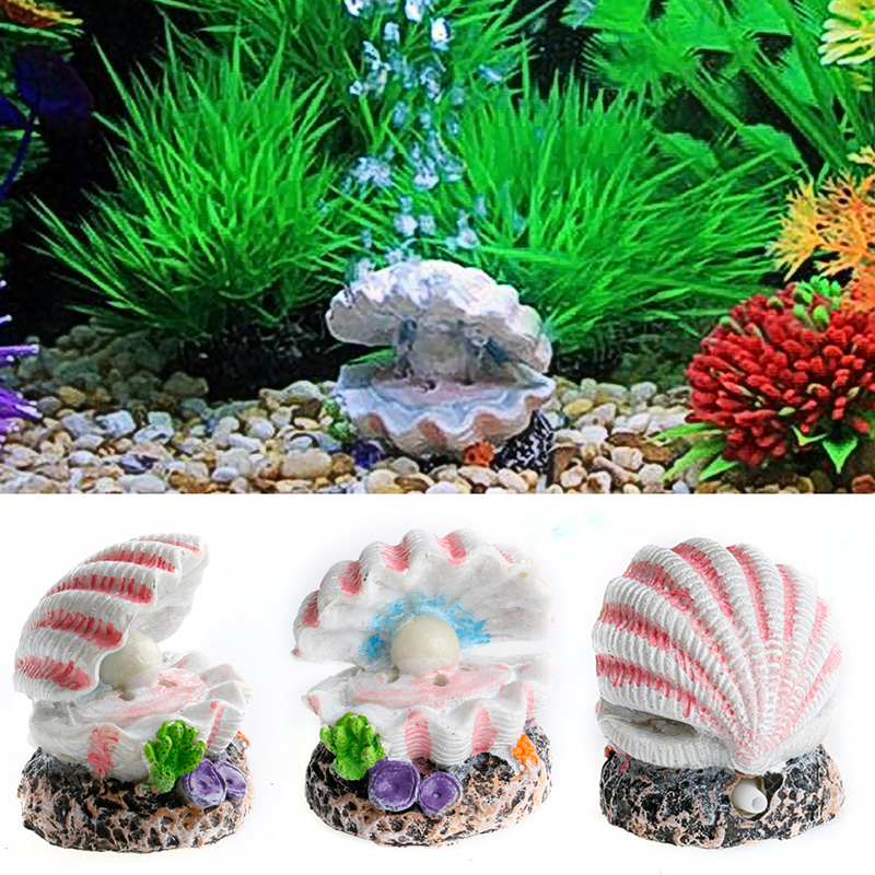 Shell pearl air stone aquarium fish tank ornament shell for How to decorate a fish tank with household items