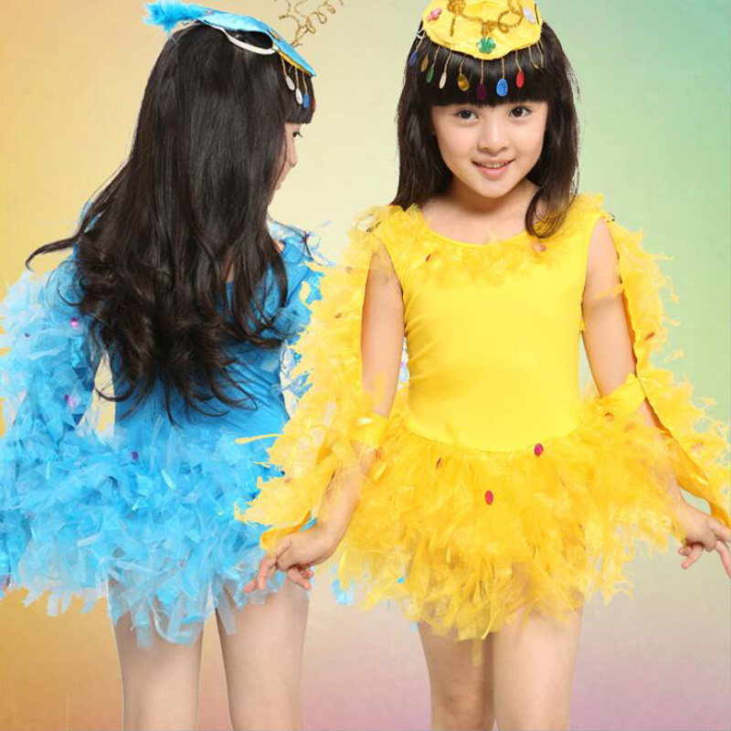 Kids Soft Fabric Halloween Costume Fancy Dress Girls Feather Chicken Dancewear Costumes Stage Dancewear Dress With Wings