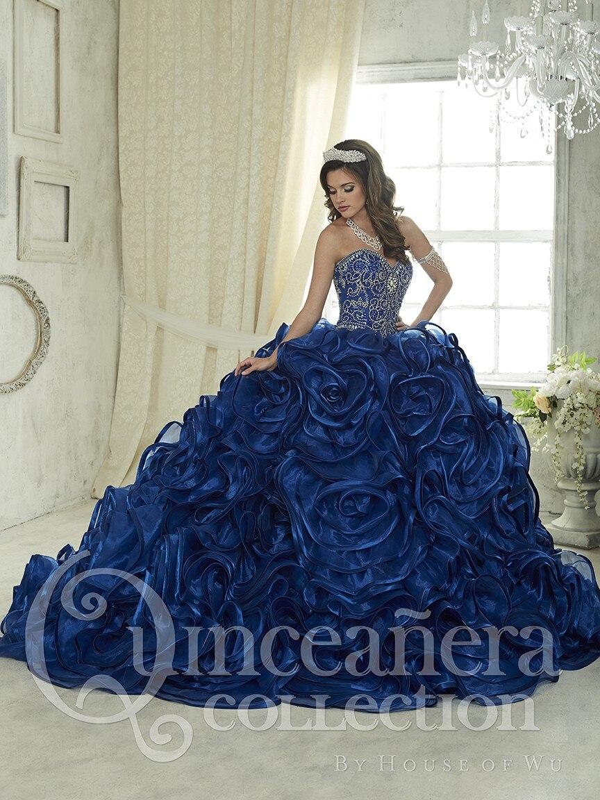 2017 azul real Quinceañera Vestidos vestido De bola novia bordado con cuentas cristal volantes falda dulce 16 Vestidos De 15 Anos