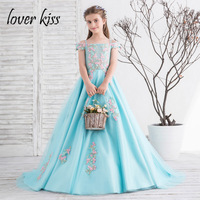 Lover Kiss Pretty A Line Turquoise Big Girls Wedding Dresses With Train Illusion Tulle Appliqued First