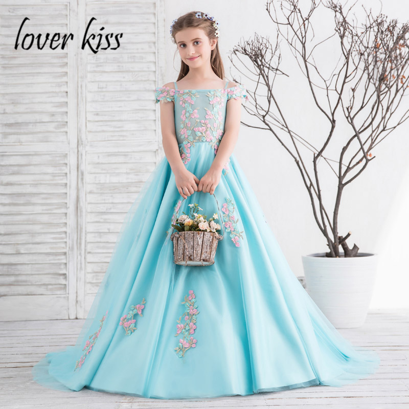 Lover Kiss Pretty A-Line Turquoise Big Girls Wedding Dresses With Train Illusion Tulle Appliqued First Communion Dress For Kids
