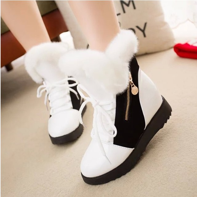 Fashion 2018 Women Half Boots Winter Short Snow Boots Female Warm Fur Plush Platform Shoes Woman Furry Peluche Botas Mujer suede plush women snow boots 2018 winter shoes woman platform fur lined short botines mujer flat ankle boots botas femininas page 1