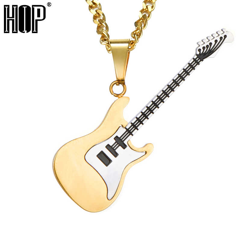 HIP Hop Rock Many Colors Stainless Steel Guitar Necklaces & Pendants For Men 2018 Fashion Jewelry Gift